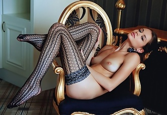 Beautiful Teen Loretta A in Stockings Showing Her Shaved Pussy
