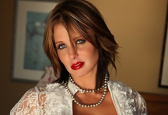 Brandy Robbins busty brunette big breasts bared in white lace top