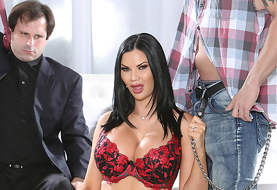 Picture Gallery of Jasmine Jae busty brunette wife hardcore sex in front of cucked husband