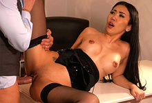 Picture Gallery of Alina Crystall nailed by the private investigator in her office