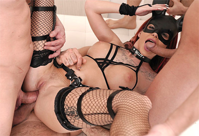Picture Gallery of Sexy rabbit Barbie Esm gets gangbanged by four admirers