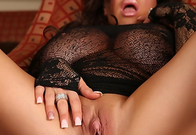 Picture Gallery of Rachel Aziani Busts Out of Sheer Lace Dress
