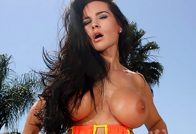 Picture Gallery of Laura Lee Strips Sizzling Hot Orange Thong by Pool