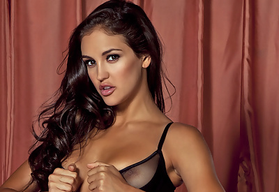 Picture Gallery of Jaclyn Swedberg Strips in Black Lingerie and Stockings