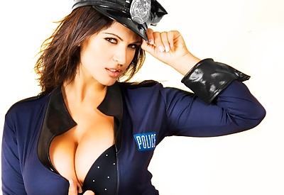 Picture Gallery of Denise Milani as sexy officer