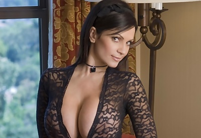 Picture Gallery of Denise Milani in black lingerie teasing you
