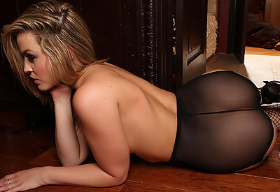 Picture Gallery of Alexis Texas Sexy Satin Lingerie and Black Fishnet Stockings