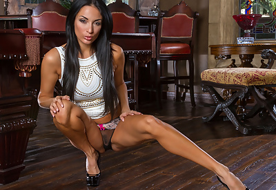 Picture Gallery of Anissa Kate Busty French Milf in Tight White Dress