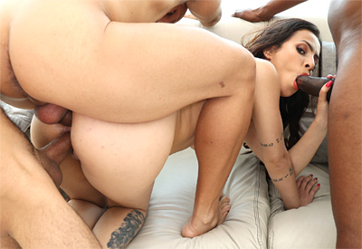 Picture Gallery of Teh Angel plays with three massive cocks simultaneously