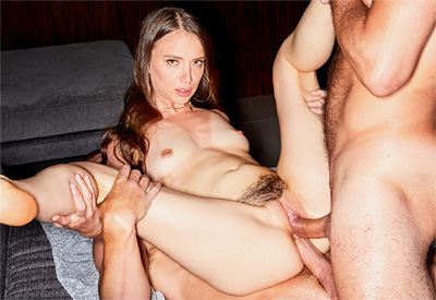 Picture Gallery of Izzy Lush gets double stuffed by two well hung studs