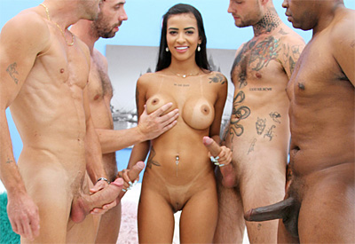 Picture Gallery of Kelly Oliveira needs four hard cocks for total satisfaction