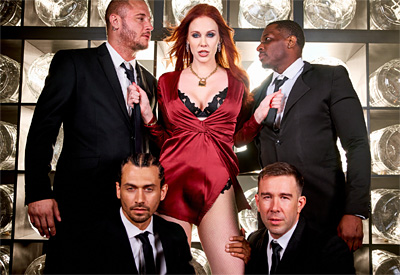 Picture Gallery of Maitland Ward gangbanged by four studs in front of an audience