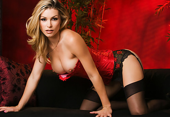 Heather Vandeven can't keep her boobs from being held back by her tight red bodice - but then again neither we or she wants them hidden behind it anyway! Yay, boobs!