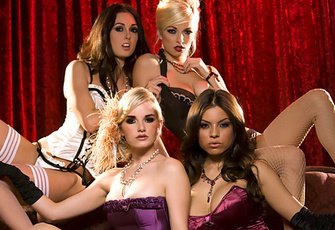 Danielle Trixie, Liz Ashley, Melissa Jacobs, Yurizan Beltran show us their plans to stage the hottest all-girls free-for-all orgy disguised as a raunchy nightly burlesque cabaret act!