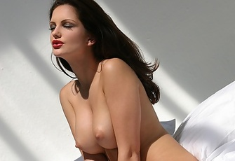 Sandra Shine is a perfect brunette beauty in white bra and panties