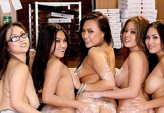 Five Hot Asian Babes Have A Fuck Titillating Fest In A Pizza Parlor