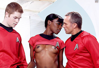 Kyle And Scotty Shower Uhura  With Compliments