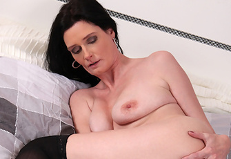 Naughty Anilos Cougar In Stockings Finger Fucks Her Pussy To Orgasm