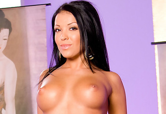 Maya Gates wants you to worship her beautiful rack: grab and caress their roundness, lick and drool on her dark areolae and then nip and pull on her erect nipples!