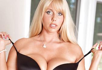 Karen Fisher Busty Blonde MILF Strips in Stockings