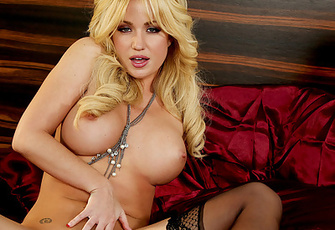 Angela Sommers Strips in Corset and Stockings