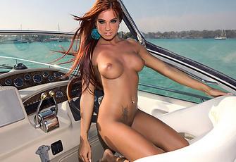 Hot Ashley Bulgari takes off her sexy Bikini on a Yacht