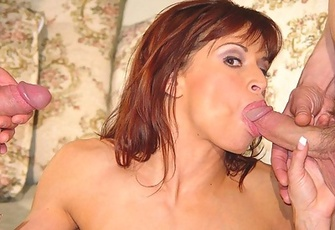 Devon Michaels sucking and fucking two hard cocks
