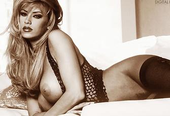 Jenna Jameson posing in fishnet stockings