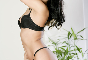 Mili Jay peels off her sensual black lingerie