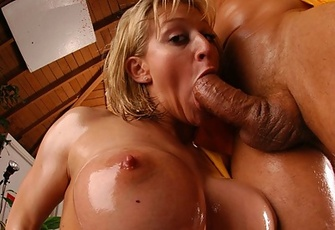 Eve Lawrence gets her round butt oiled up and pounded