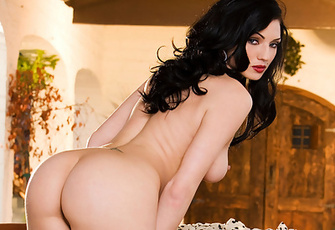 Ava Rose treats her neighbors to a sexy striptease as she slowly pulls off her black bra and and panties while standing in her front veranda and then kneeling down on the outdoor couch to slowly massage her naked curvy backside and ass.