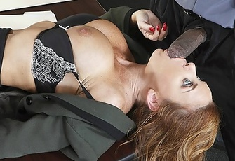 Janet Mason fucked by his massive black cock in the conference room