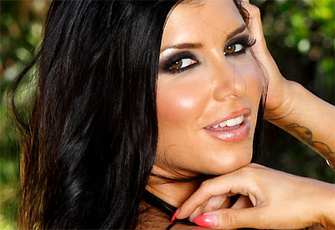 Romi Rain toying her bald snatch outdoors by the pool