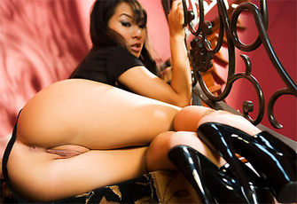 Asa Akira spreads her tight snatch on the stairway to heaven