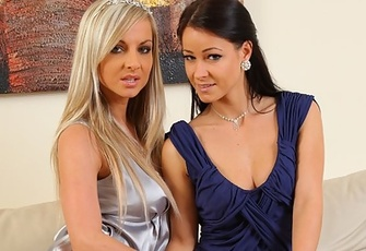 Tammy And Kristina Pose In Their Opaque Stockings