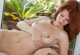 Redheaded Beauty Mia Sollis Touches Her Tight Pussy