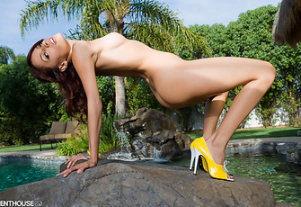 Valerie Rios naked and naughty at her poolhouse
