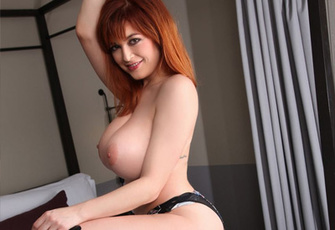Redhead Tessa Fowler in Boots Unleashing Her Big Tits