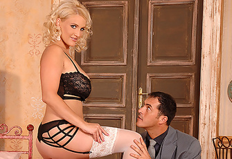 Delicious Babe Wearing Stockings Performing A Great Footjob
