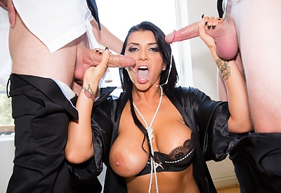 Picture Gallery of Busty Pornstar Romi Rain Seduces Two Young Servants Of The Lord