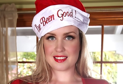 Picture Gallery of Brooke Britt festive blonde big breasts revealed from red shirt & bra