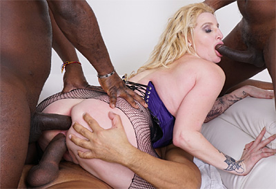 Picture Gallery of Loula Lou gets all fun holes slammed by three black men