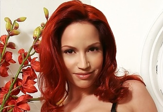 Bianca Beauchamp hot busty redhead in black lingerie strip-tease